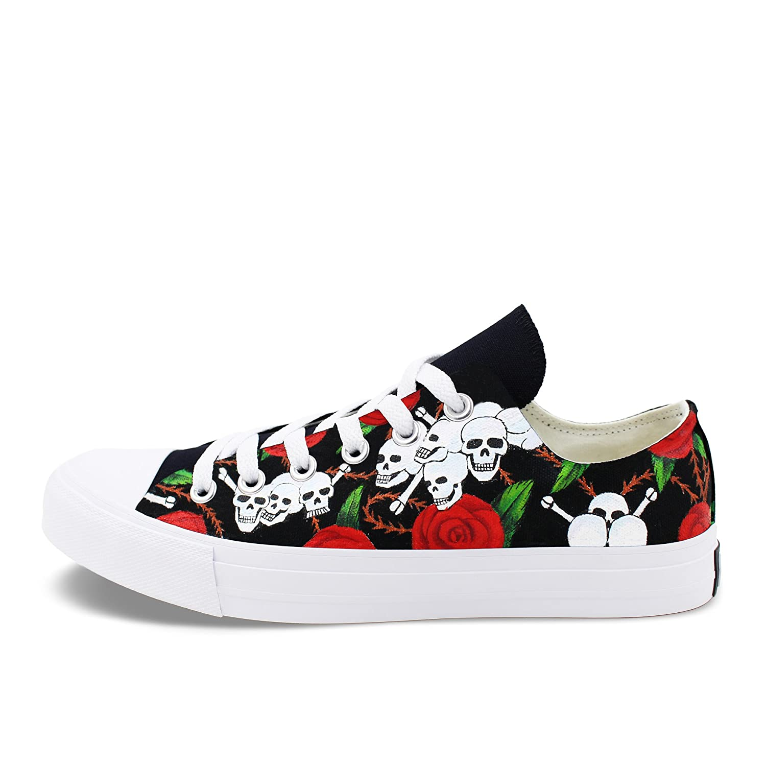 85e139197cad Amazon.com  Wen Fire Original Skeleton Skulls Shoes Roses Design Hand  Painted Canvas Shoes Low Top Sneakers  Shoes