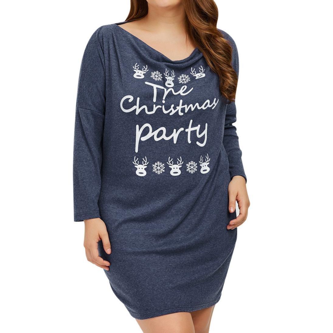Women's Christmas dress,Toponly Women Cotton Blend Print Letters Plus Size Dress Christmas Party Casual Dress (Blue, XL)