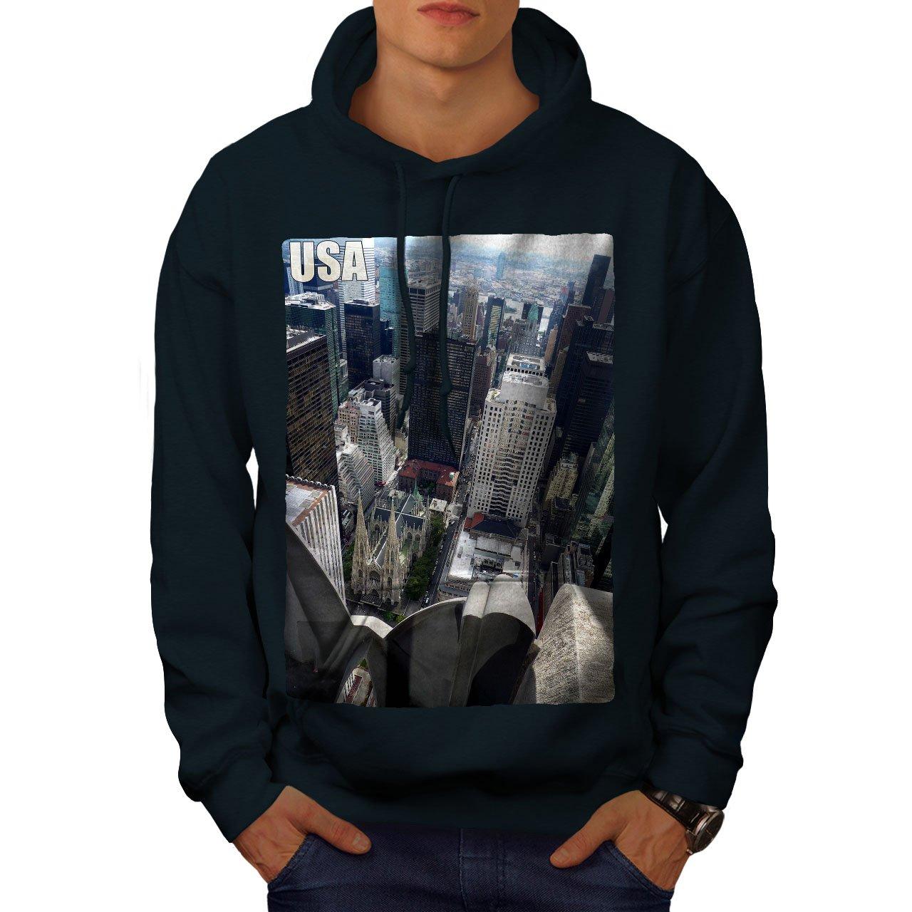 wellcoda USA Building City Mens Hoodie Town Hooded Sweatshirt