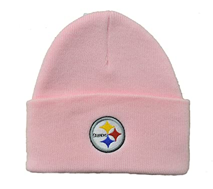 NFL Officially Licensed Basic Cuffed Logo Beanie Hat Cap Lid Skull (Pittsburgh  Steelers Pink) 47904c7a5d57