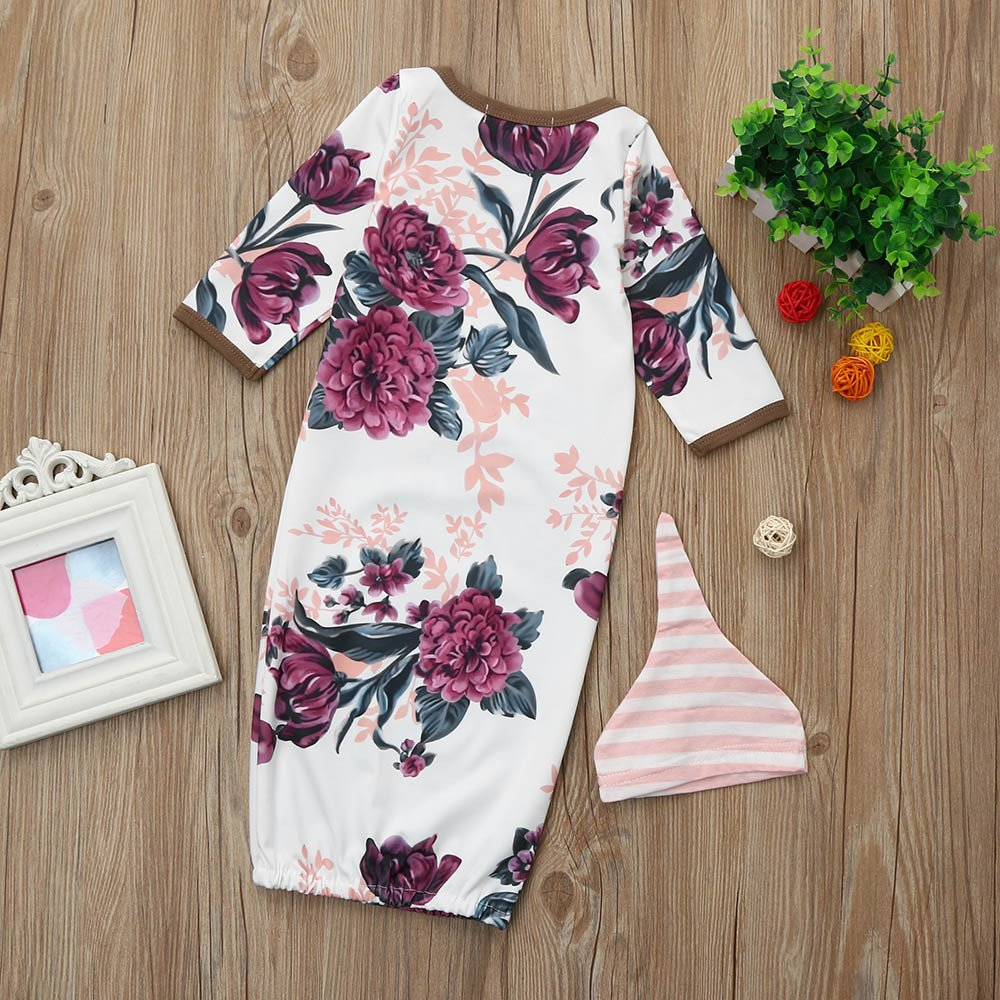 7f267fc32 Sixcup 2Pcs Newborn Infant Baby Girls Boy Floral Print Pajamas Gown ...