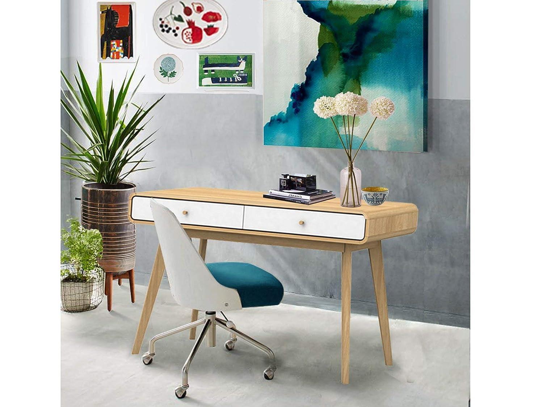 Loft24 Carmen Schreibtisch Bürotisch Computertisch PC Tisch Konsolentisch Konsolentisch Konsolentisch Skandinavisches Design 120 x 78,6 cm (weiß Natur) 3c0c76