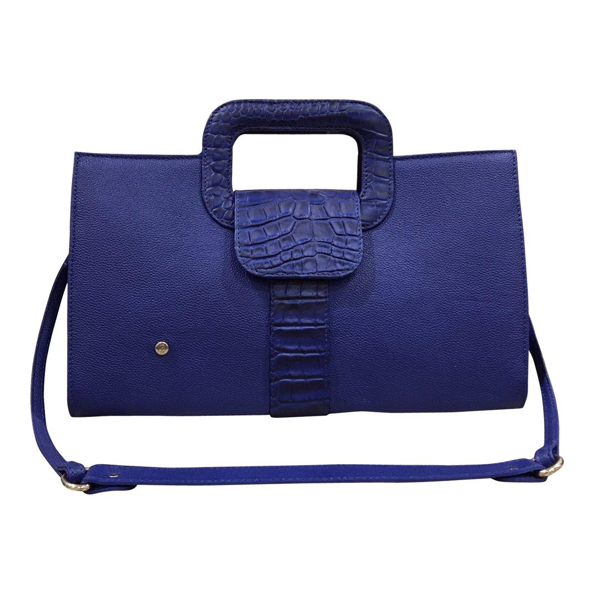 Gaspy Elena Women's Formal Evening Handbag, 100 Percent Colombian Leather (Royal Blue, Granular and Gavial Crocodile Patterns)
