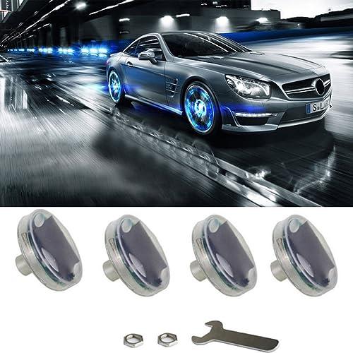 Car Tire Wheel Lights,4pcs Solar Car Wheel Tire Air Valve Cap Light with Motion