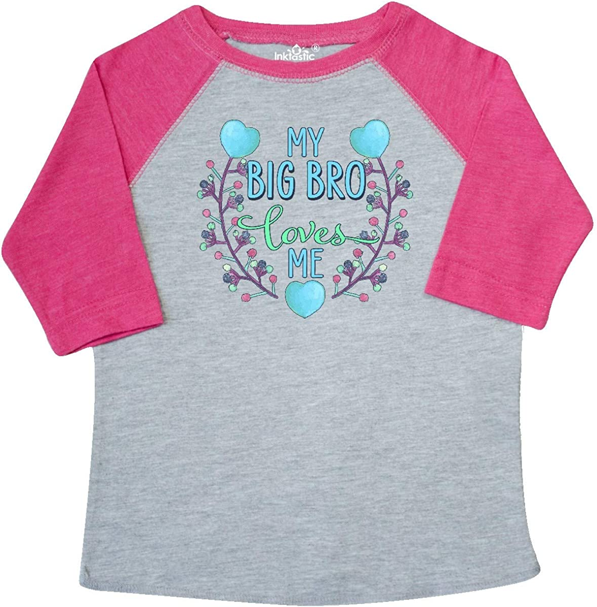 inktastic My Big Bro Loves Me with Flowers and Hearts Toddler T-Shirt