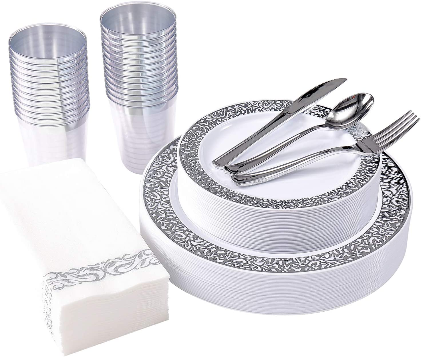 175 Piece Silver Dinnerware Set 25 Guest-50 Silver Lace Plastic Plates-25 Silver Plastic Silverware-25 Silver Plastic Cups-25 Linen Like Silver Paper Napkins, FOCUS LINE Disposable Dinnerware Set
