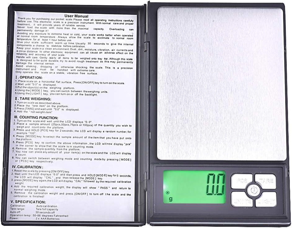 Mod Quantum Abacus Pr/äzisionswaage//Briefwaage//Feinwaage//Goldwaage//Taschenwaage DBJB-2000g0.1 2kg // 0,1gr Einteilung