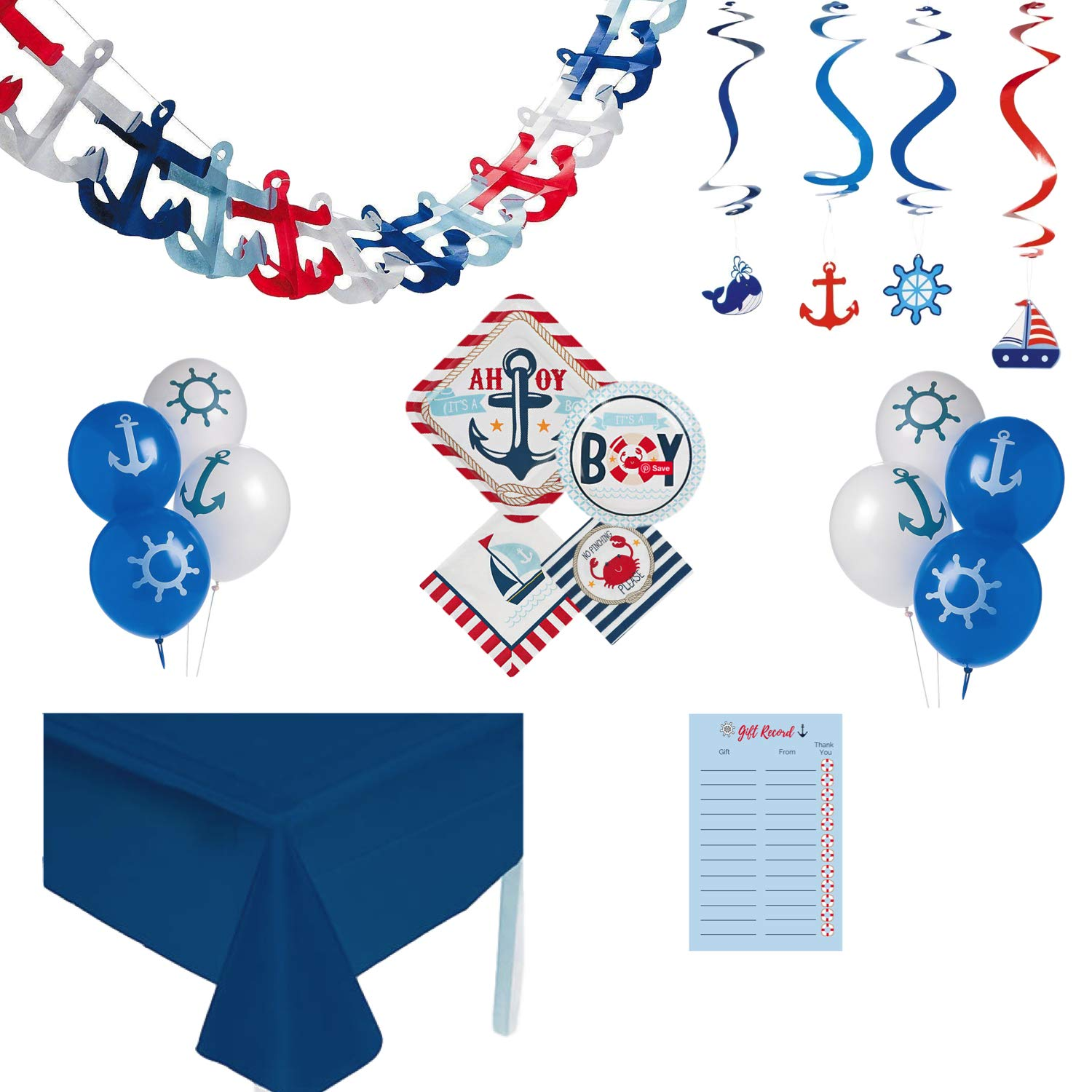 Nautical Baby Shower Decorations for Boy, Ahoy Its A Boy 104 Piece Tableware and Decoration Kit for 16 Guests