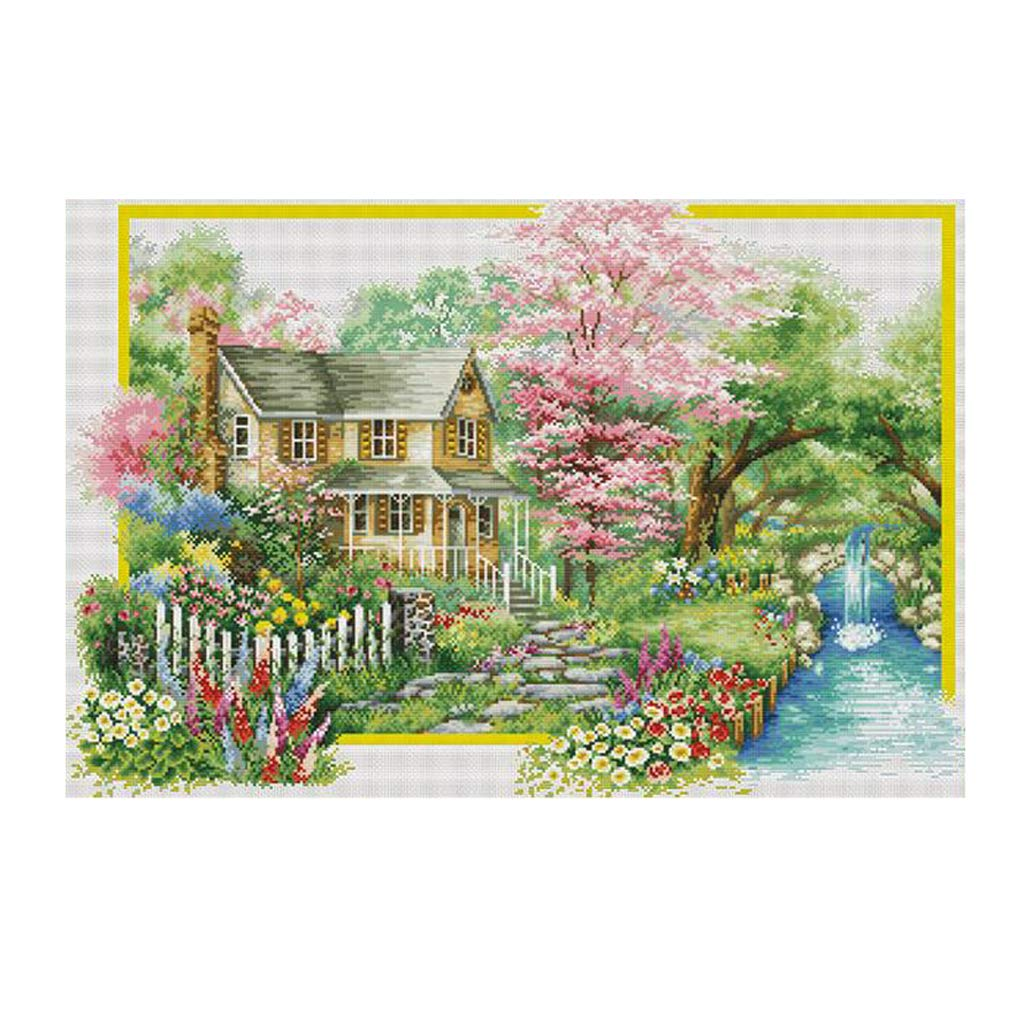 Stamped Cross Stitch Kits 11CT Embroidery Craft DIY Home Ornaments CUTICATE Spring Landscape