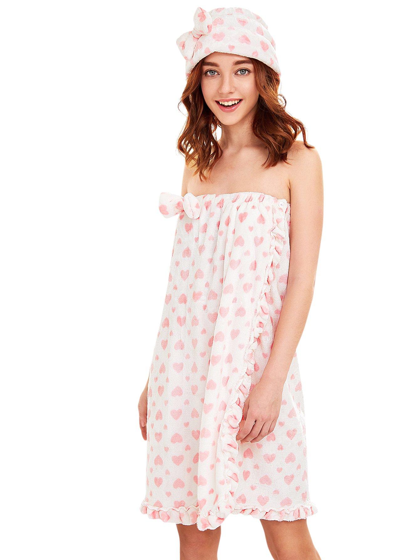 Romwe Women's Ruffle Cute Spa Bathroom Wrap Towel With Shower Cap Pink Heart One-Size