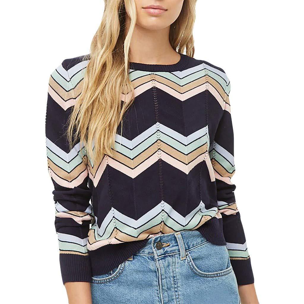 Yemenger Knit Sweater for Women Causal Long Sleeve Shirt Wave Stripe Top Blouse Blue by Yemenger_women tops