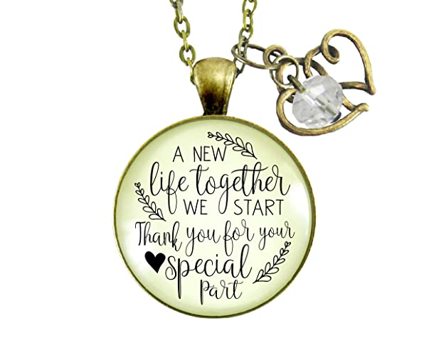 36 Wedding Officiant Gift Necklace A New Life We Start Rustic Pendant Heart Charm Thank You Card