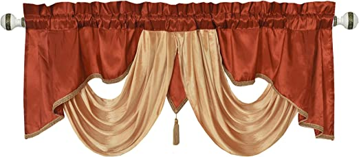 54 x 18 inches Light Gold Taffeta Fabric with Soft Satin Swag Valarie Fancy Window Valance Add Some Royal luxruy Accent to Your Home.