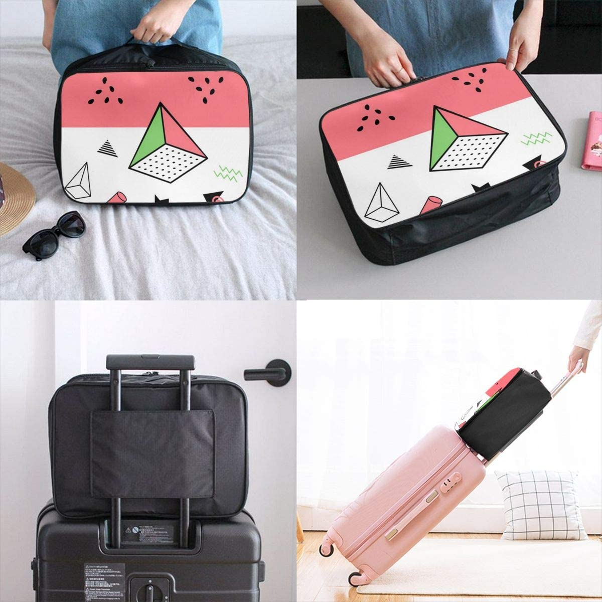 Yunshm Geometric Elements Customized Trolley Handbag Waterproof Unisex Large Capacity For Business Travel Storage