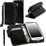 Moto E Case, Motorola E(1st Gen.) Case - E LV Motorola Moto E (1st Gen.) Case Cover PU Leather Flip Folio Full Body Protective Wallet Purse Case Cover for Moto E with 1 Stylus- Black