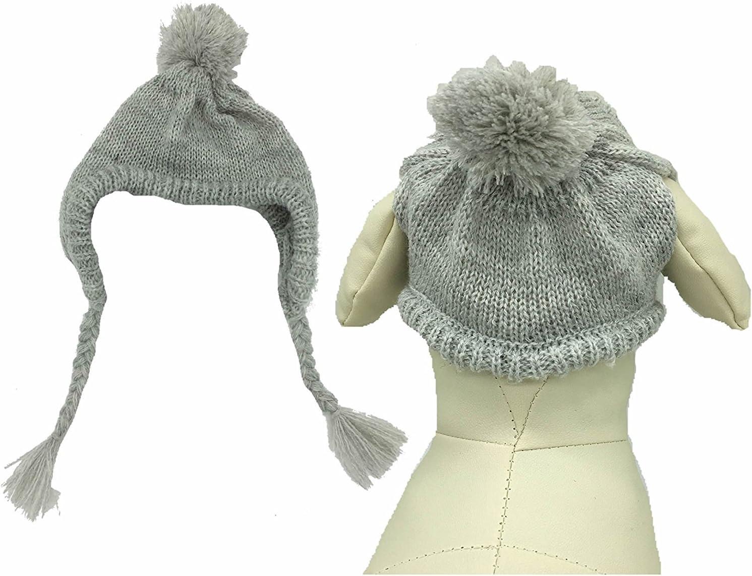 Lanyar Classic Warm Pet Dog Winter Knitted Hat for Medium Dogs, Grey Medium : Pet Supplies