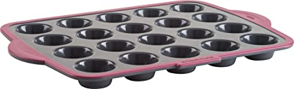 Trudeau 09914072 20 Count Structure Muffin Pans, Grey/Pink