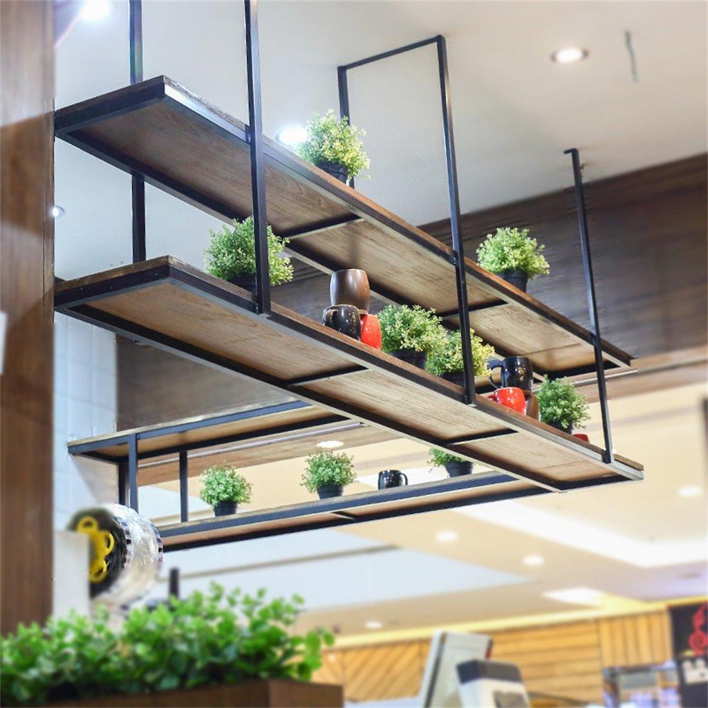 AIDELAI flower rack Solid wood Retro Iron restaurant Front desk Wall hanging On the wall Shelf The word shelf Ceiling Shelf Storage rack Flower rack Patio Garden Pergolas (Size : 1203080CM)