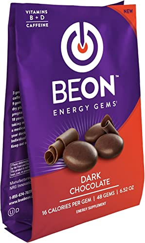 BeON Energy Boost Gems Energems , Dark Chocolate 133 mg Caffeine B6 B12 D-Vitamins Per Serving, 1 Coffee Bag w 48 Chocolate gems
