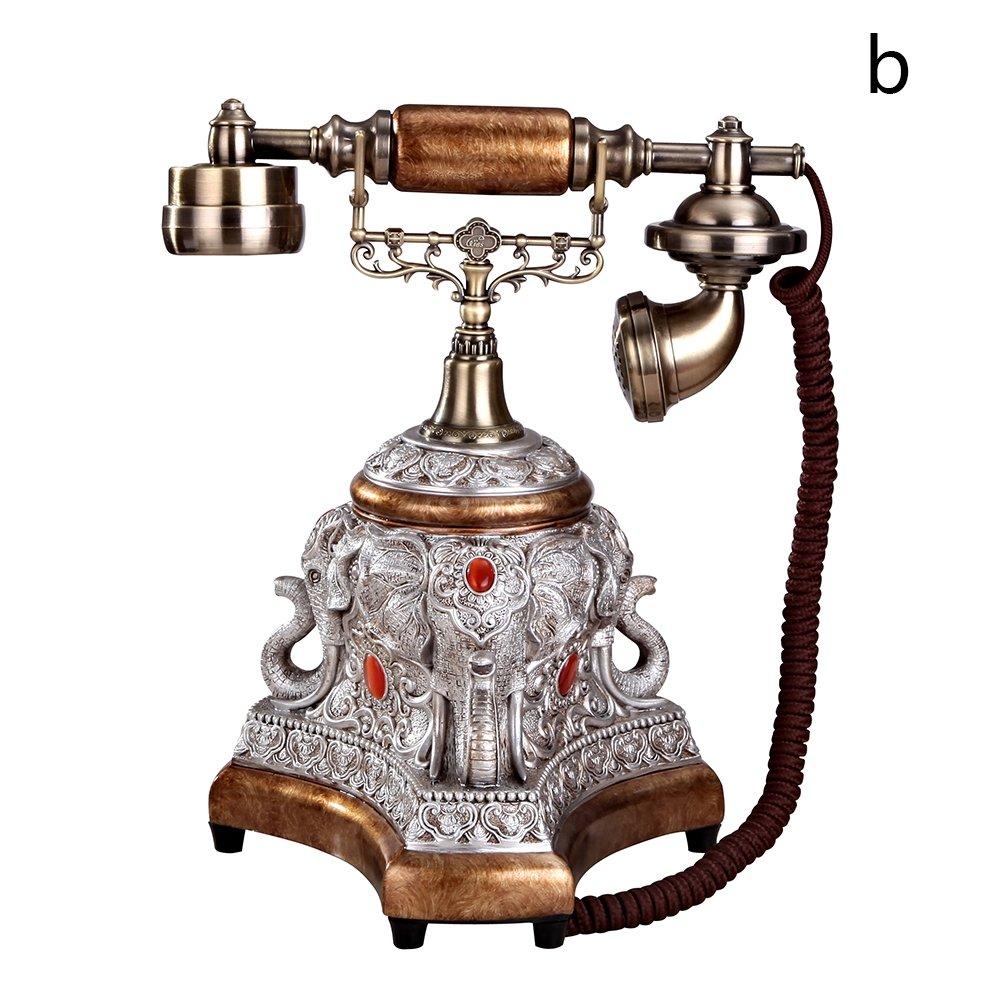 Hestio Retro Vintage Antique Style Rotary Dial Desk Telephone Phone Home Living Room Decor … (Bronze-coloured)