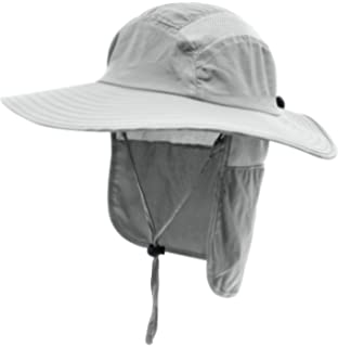 Home Prefer Mens UPF 50+ Sun Protection Cap Wide Brim Fishing Hat with Neck  Flap 0a90209cb8c0