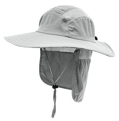 5d0d04d0 Decentron Adult UPF 50+ Sun Protection Cap Wide Brim Fishing Hat with Neck  Flap (Light Gray): Amazon.co.uk: Clothing