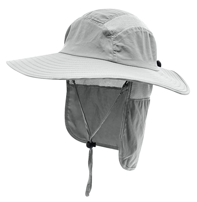 ecc627c4696 Decentron Adult UPF 50+ Sun Protection Cap Wide Brim Fishing Hat with Neck  Flap (Light Gray)  Amazon.co.uk  Clothing