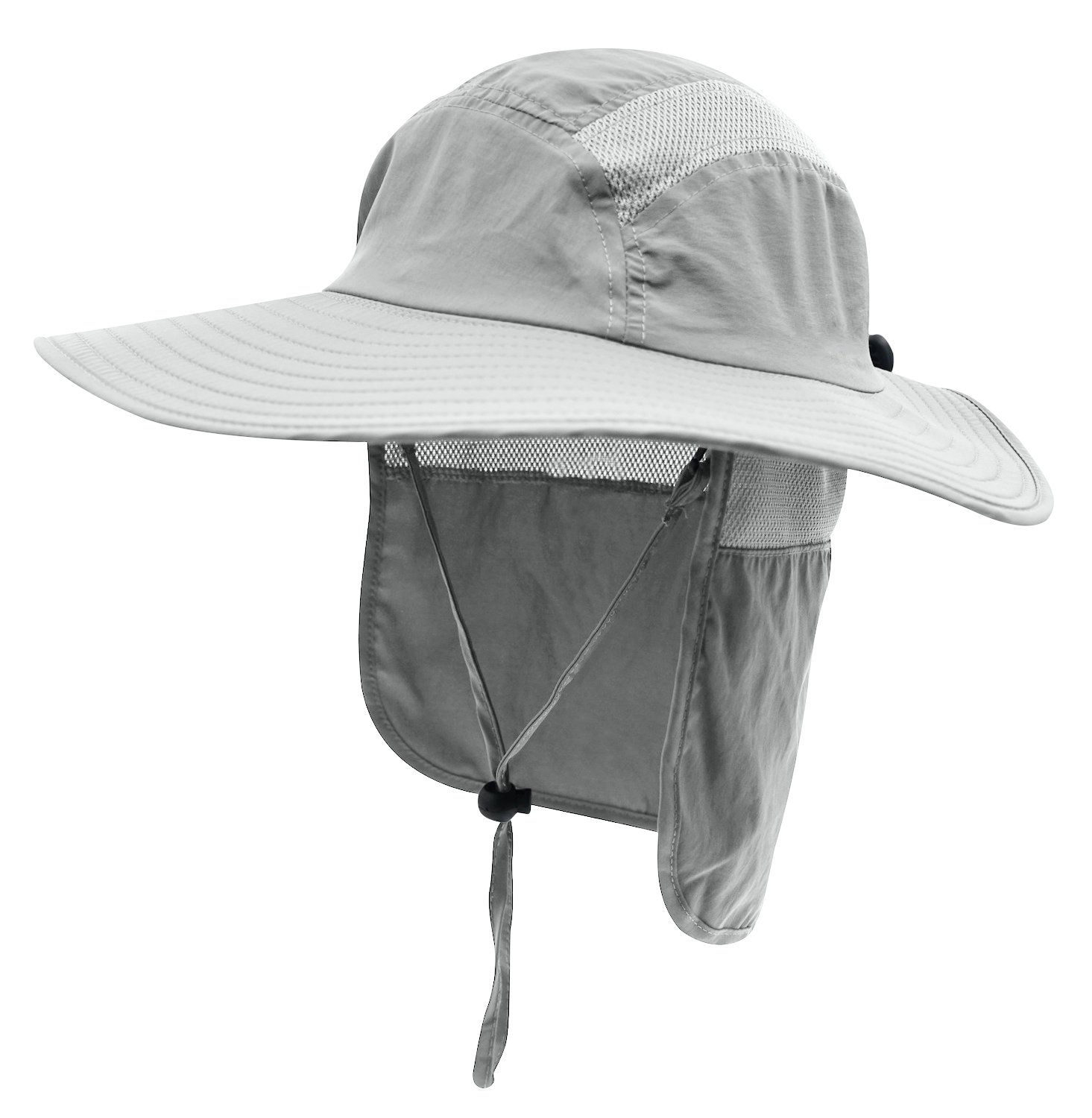 Home Prefer Mens UPF 50+ Sun Protection Cap Wide Brim Fishing Hat with Neck Flap (Light Gray) by Home Prefer