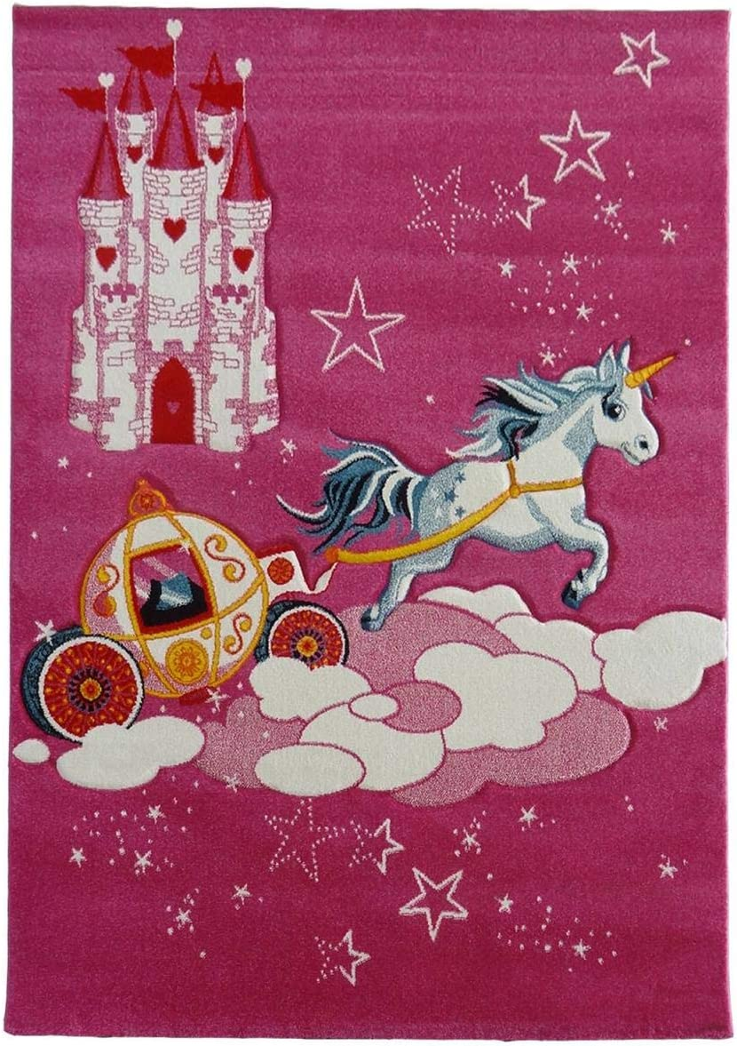 UN AMOUR DE TAPIS Tapis Rose Tapis Moderne Design Tapis Salon et Tapis Chambre Plusieurs Tailles Disponibles Chateau Licorne Tapis Enfant 80x150 cm