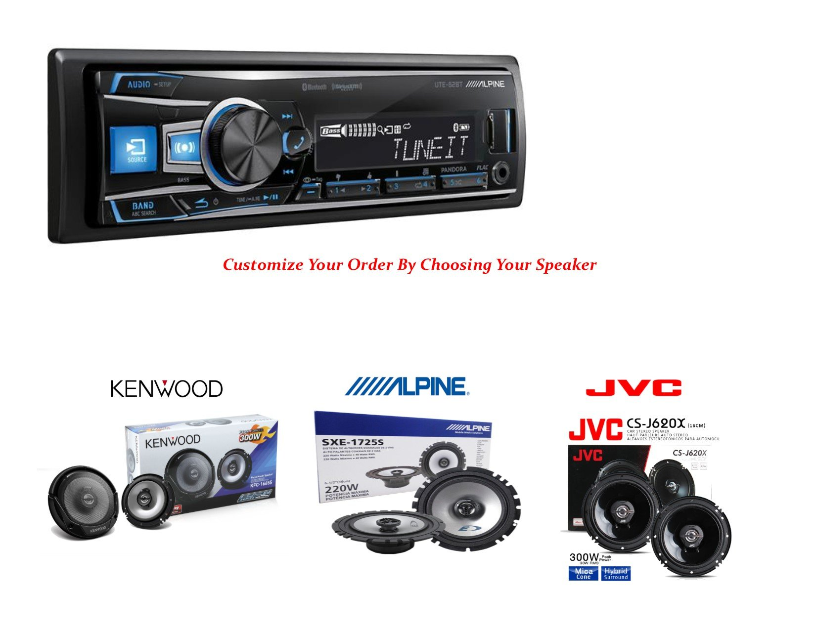 UTE-62BT - Alpine In-Dash Single DIN Digital Media Receiver (Cuctomize Your Order By Choosing Your Speaker)