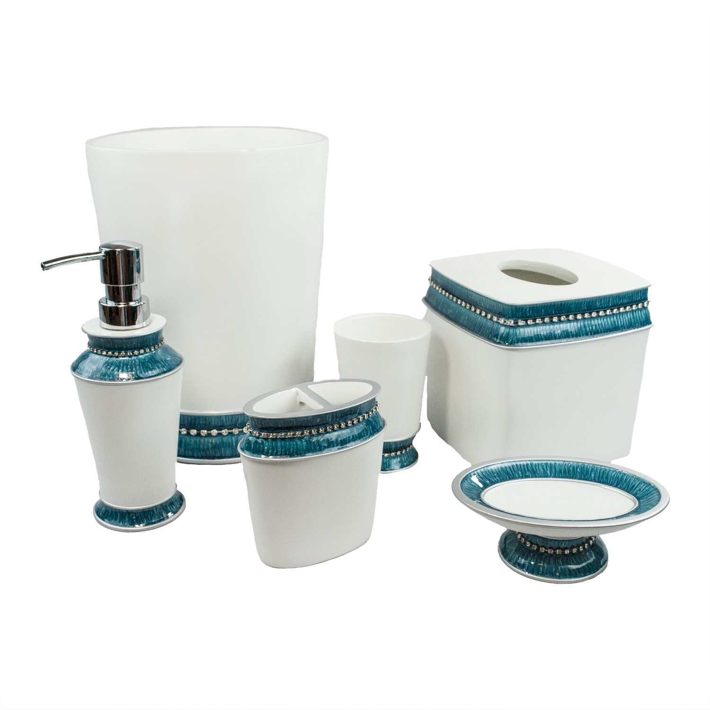 Sherry Kline Blue 6 Piece Victoria Jewel Bath Accessory Set,