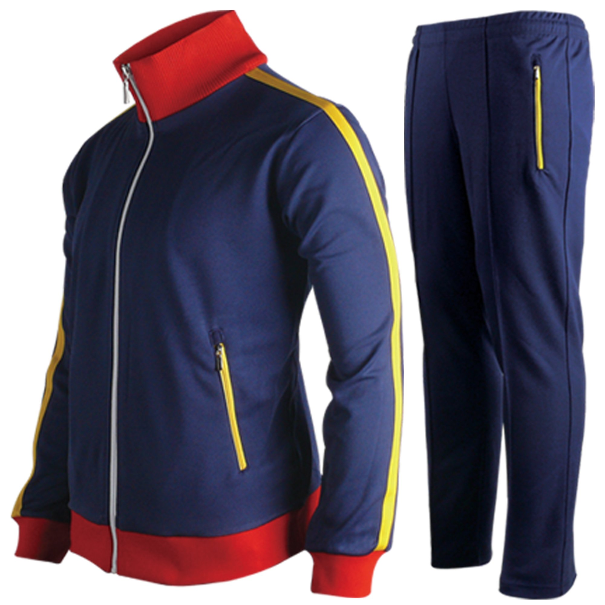 myglory77mall Running Jogging Track Suit Jacket and Pants Warm up Gym Training Wear NavyRed XXS US(S Asian)