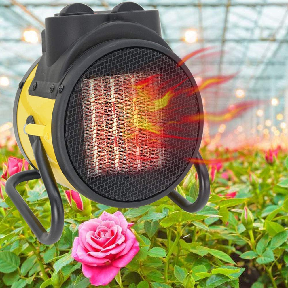 Garage Space Heater Electric – Indoor Portable Heater Fan,Greenhouse Heaters,Adjustable Thermostat for Grow Tent, Home Large Room, Workplace,PTC Fast Heating, Overheat Protection, Metal Base
