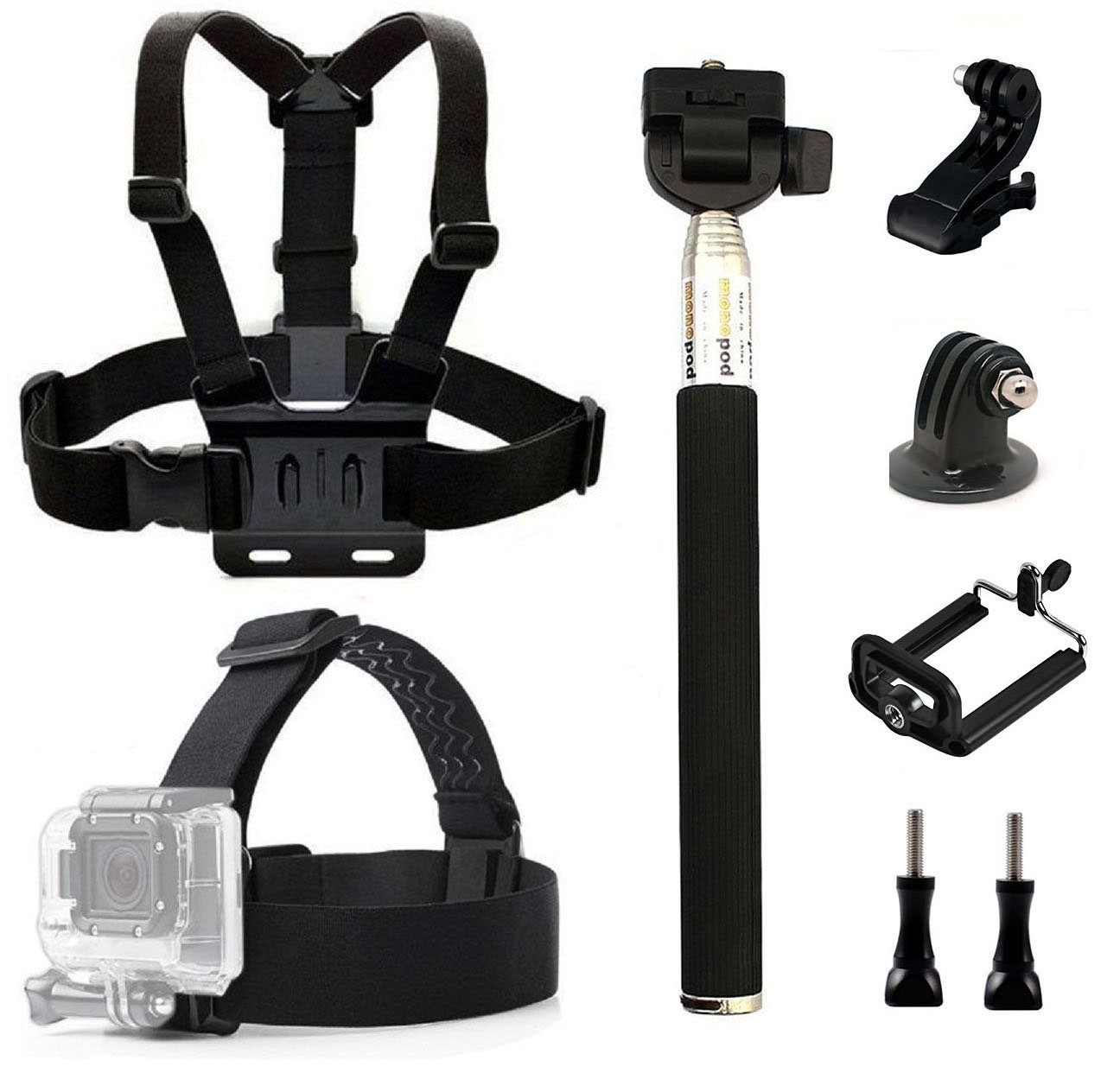 dOvOb Action Camera Accessories Kit included Head Strap Mount+ Chest Belt Strap Harness+ Selfie Stick Handheld Monopod for GoPro Hero 6/ APEMAN / AKASO / DBPOWER / Campark / EKEN / Lightdow /Xiao Yi