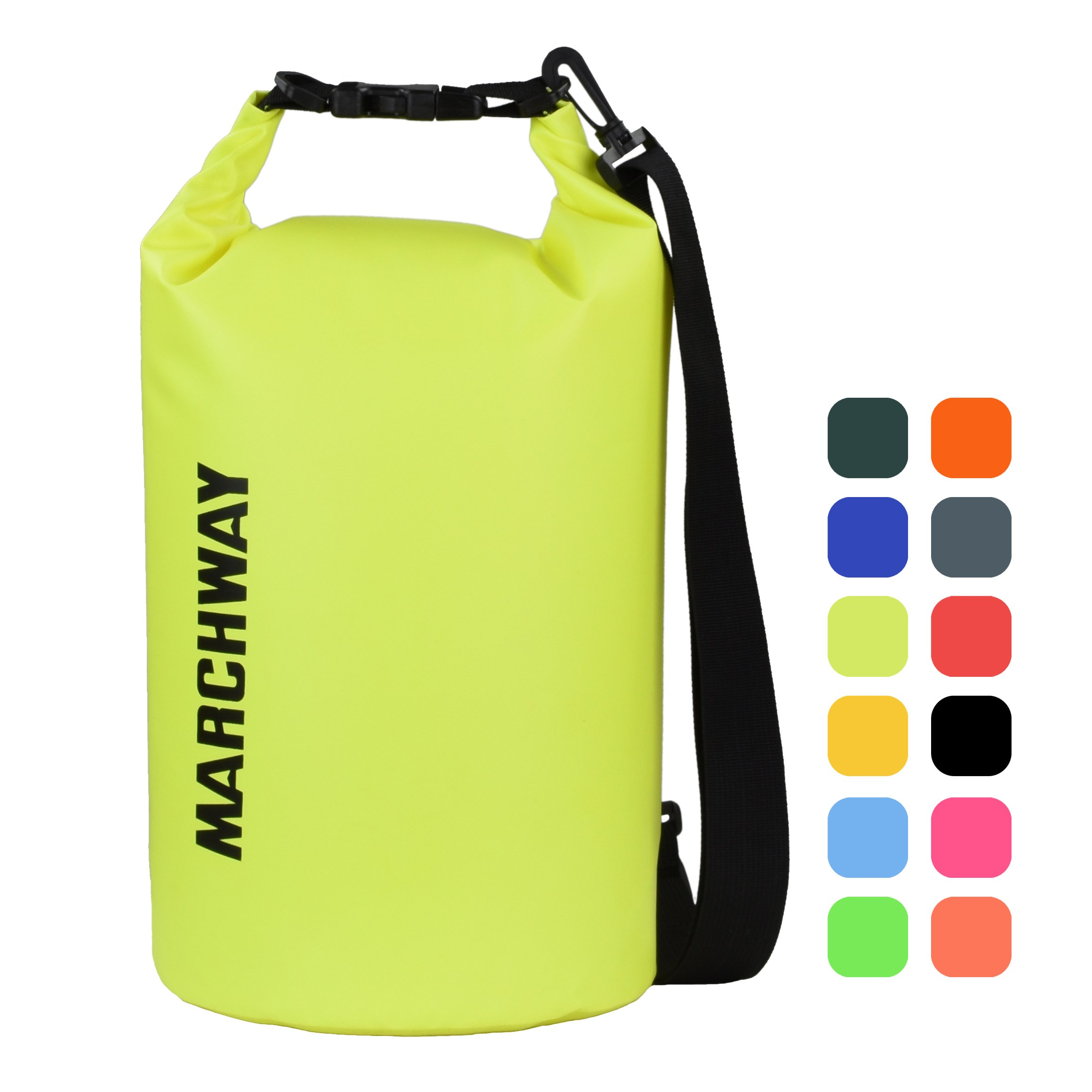 MARCHWAY Floating Waterproof Dry Bag 5L/10L/20L/30L, Roll Top Sack Keeps Gear Dry for Kayaking, Rafting, Boating, Swimming, Camping, Hiking, Beach, Fishing (Bright Yellow, 10L) by MARCHWAY