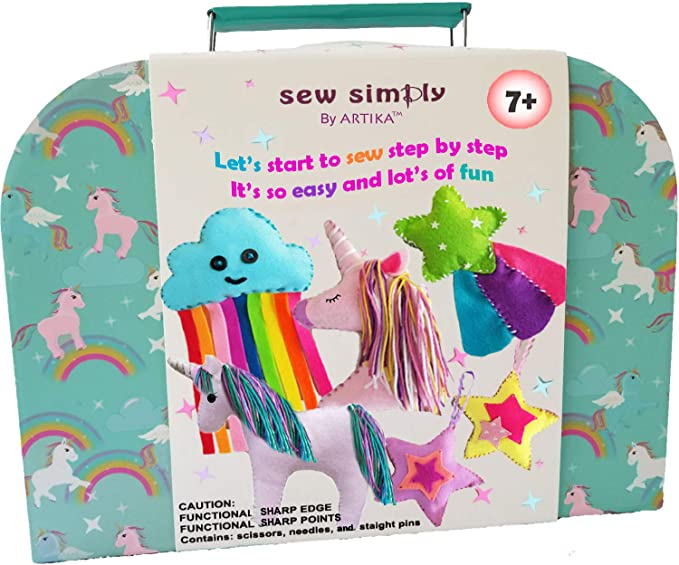 ARTIKA Sewing KIT for Kids, DIY Craft for Girls, The Most Wide-Ranging Kids Sewing Kit Kids Sewing Supplies, Includes a Booklet of Cutting Stencil Shapes for The First Step in Sewing. (Unicorn kit)