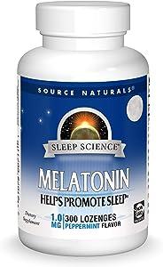 Source Naturals Sleep Science Melatonin 1 mg Peppermint Flavor - Helps Promote Sleep - 300 Lozenge Tablets