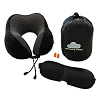 Neck Support Travel Pillow, Memory Foam. Ideal for Plane, Train, Car, Home. Super Soft Cover with Bonus Travel Pack