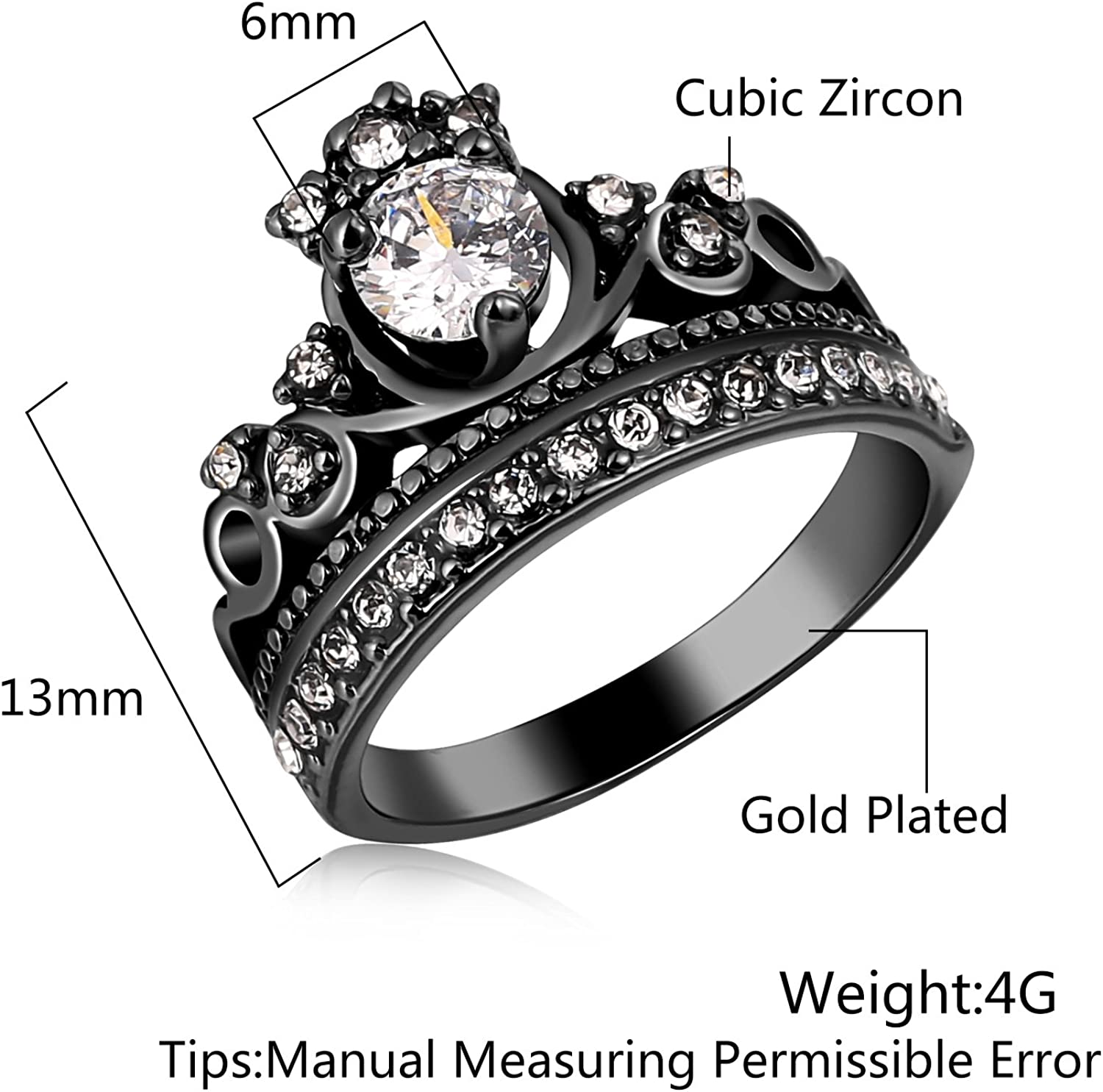 MoAndy 4mm Rose Gold Plated 4Prongs Setting Cubic Zirconia Womens Wedding Rings Rose Gold