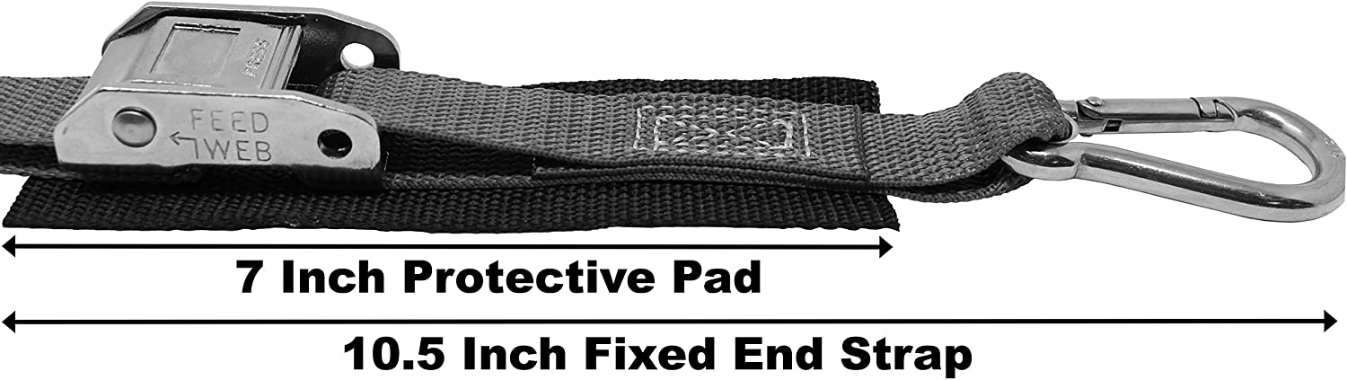 Pull Loop for Easy Tightening,Protective Pad Under Buckle 1 Inch Stainless Steel Cam Buckle Tie Down Total Strap Length 8.5 Ft,Polyester Tie-Down Webbing.