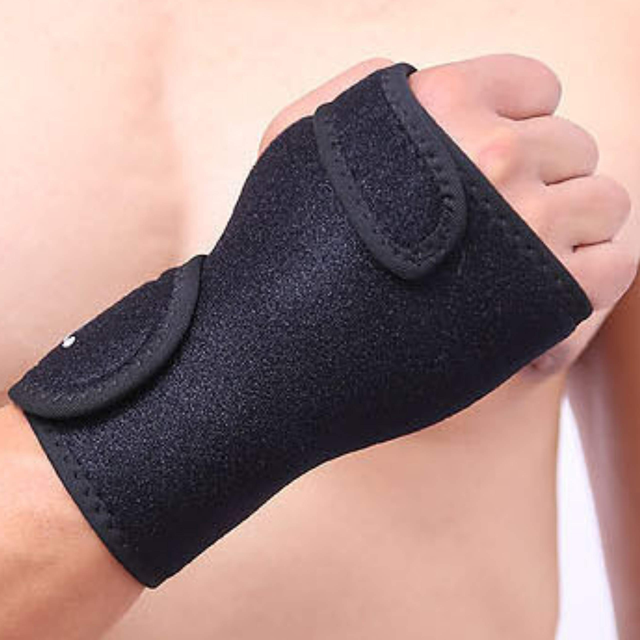 #1 Carpal Tunnel Wrist Brace Support by MONALE – Night & Day Use– Tendonitis – Arthritis – with Removable Splint & Adjustable Support Wrap – Right & Left Hand Available - Black