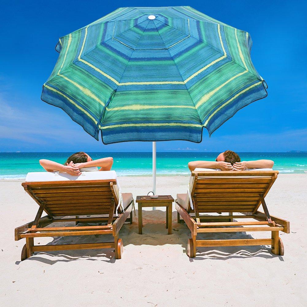 Abba Patio 7 Feet Beach Umbrella with Sand Anchor, Push Button Tilt and Carry Bag, Adjustable Height Fiberglass Rib Patio Umbrella, Striped Color by Abba Patio