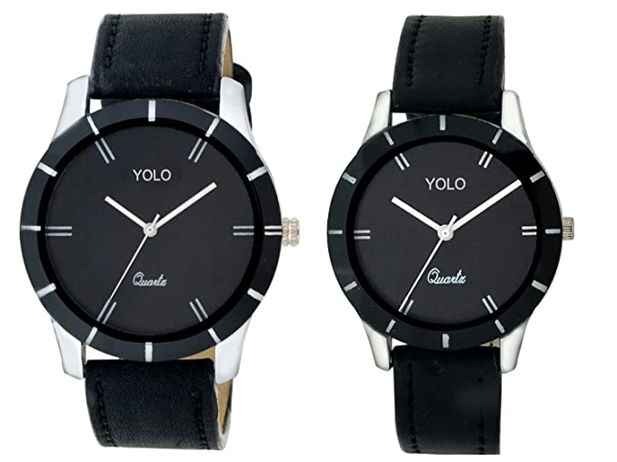 Yolo Quartz Analogue Black Dial Men's & Women's Couple Watch - Ycp-003