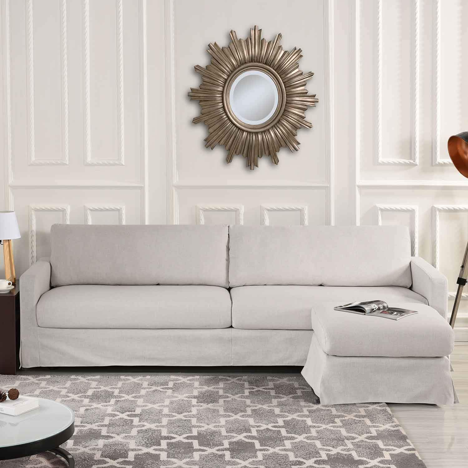 Surprising Amazon Com Beige Woven Linen Slipcover Sectional Sofa Couch Ncnpc Chair Design For Home Ncnpcorg