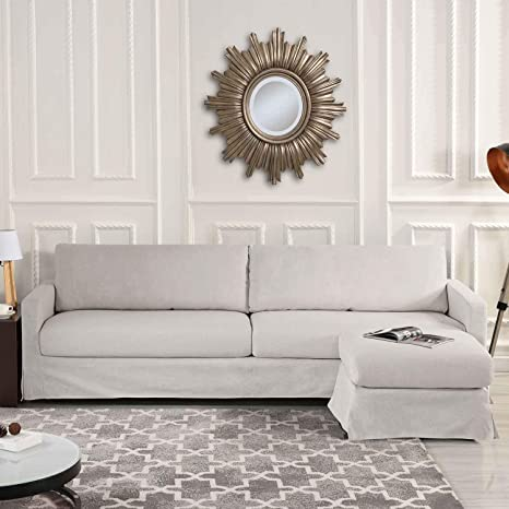 Amazon.com: Beige Woven Linen Slipcover Sectional Sofa Couch ...