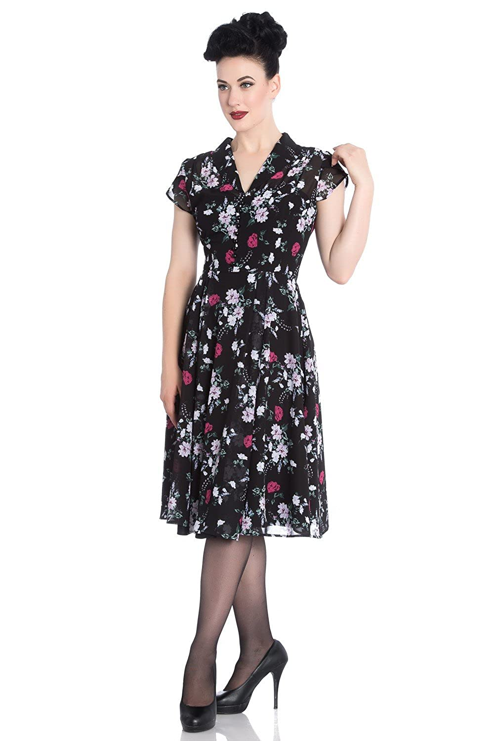 1940s Dresses and Clothing UK | 40s Shoes UK Hell Bunny 40s Retro Vintage Belleville Landgirl Floral Chiffon Tea Dress �56.49 AT vintagedancer.com