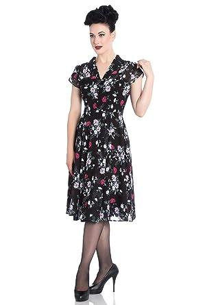 85134b6aa82 Hell Bunny 40s Retro Vintage Belleville Landgirl Floral Chiffon Tea Dress -  Black (S)