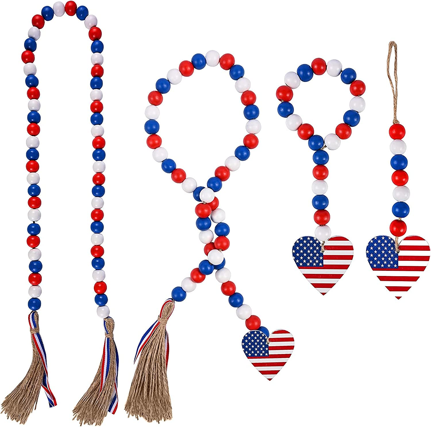 ZIIVARD 4 Pack Patriotic Independence Day Bead Garland, Wood Bead Tassel Garland with Heart Shape American National Flag Wood Decor for Independence Day 4th of July Decorations 39In+33In+13In+12In