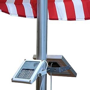 "ALPHA 180X Flag Pole Light (Warm White LED) for Solar Flagpole Lighting/Cast Iron Street Light Style Doubled as Floodlight/U-Bracket Fits Max Pole Diameter 2.5"", Warm White Light"
