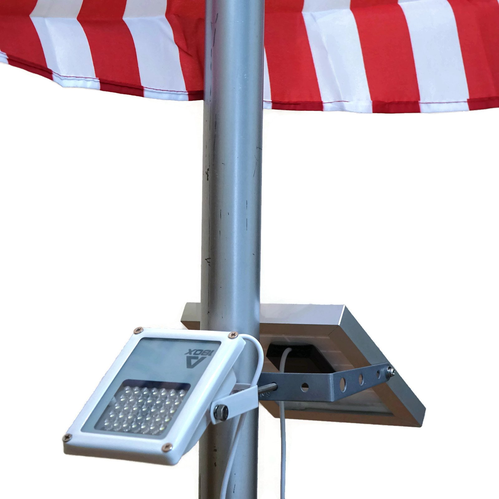 ALPHA 180X Flag Pole Light (Warm White LED) for Solar Flagpole Lighting/Cast Iron Street Light Style Doubled as Floodlight/U-Bracket Fits Max Pole Diameter 2.5'', Warm White Light